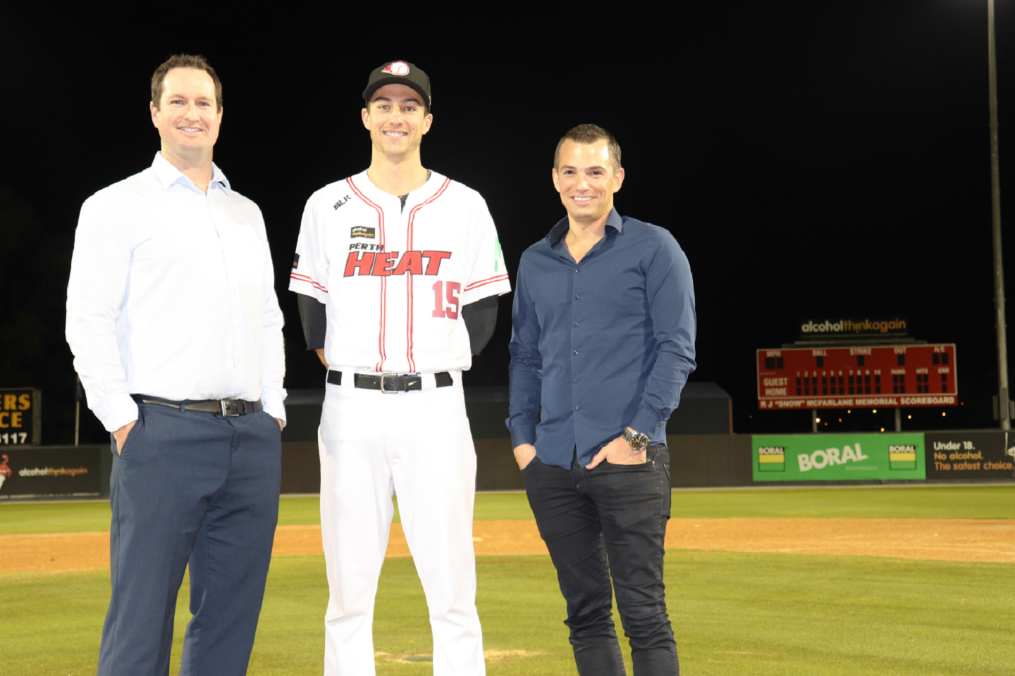 Bwa Chief Executive Lachlan Dale With Perth Heat Pitcher Tom Bailey And New Chairman Rory Vassallo