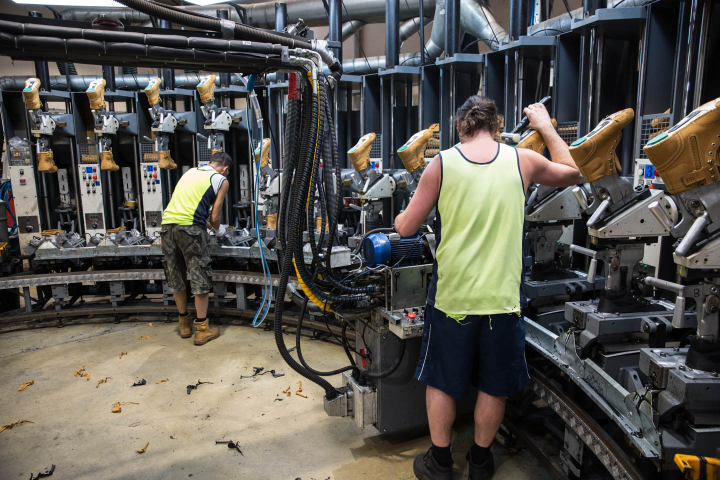 Steel Blue's Malaga facility produces 200 pairs of made-to-order boots a day.