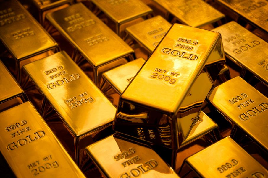 Gold up as weak data underpins growth fear