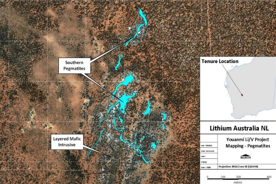 Abundant pegmatites for Lithium Australia at Youanmi